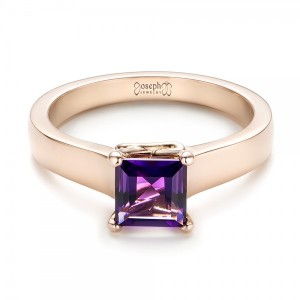 Custom Rose Gold Amethyst Solitaire Engagement Ring