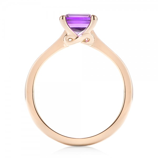 Custom Rose Gold Amethyst Solitaire Engagement Ring - Finger Through View