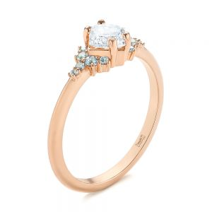 Custom Rose Gold Aquamarine and Diamond Engagement Ring - Image