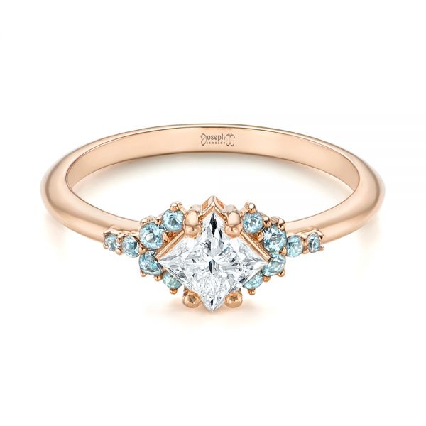 Custom Rose Gold Aquamarine and Diamond Engagement Ring - Flat View -  103617 - Thumbnail