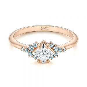 Custom Rose Gold Aquamarine and Diamond Engagement Ring