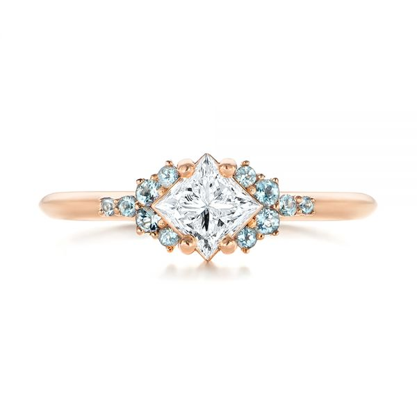 Custom Rose Gold Aquamarine and Diamond Engagement Ring - Top View -  103617 - Thumbnail