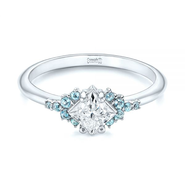 Platinum Platinum Custom Aquamarine And Diamond Engagement Ring - Flat View -