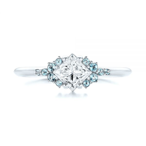 Platinum Platinum Custom Aquamarine And Diamond Engagement Ring - Top View -