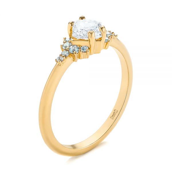 18K Yellow Gold Custom Rose Gold Aquamarine and Diamond Engagement Ring - Three-Quarter View -  103617 - Thumbnail