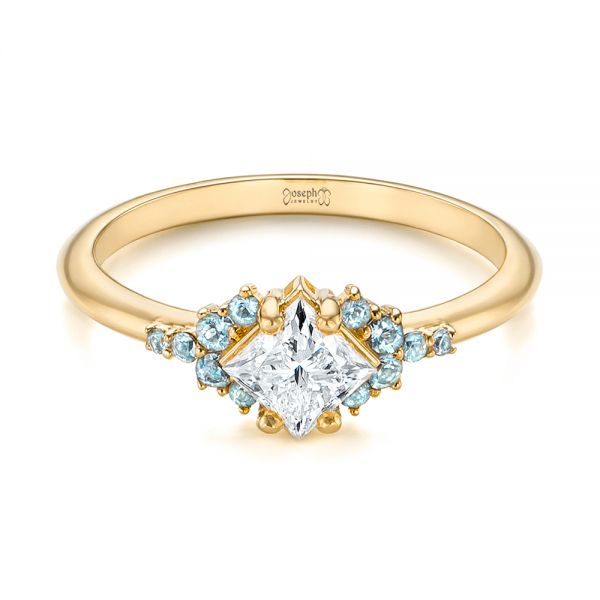 18K Yellow Gold Custom Rose Gold Aquamarine and Diamond Engagement Ring - Flat View -  103617 - Thumbnail