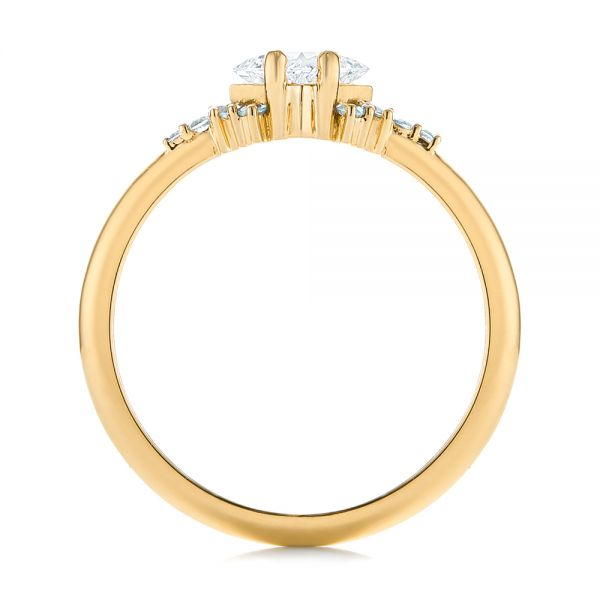 18K Yellow Gold Custom Rose Gold Aquamarine and Diamond Engagement Ring - Front View -  103617 - Thumbnail