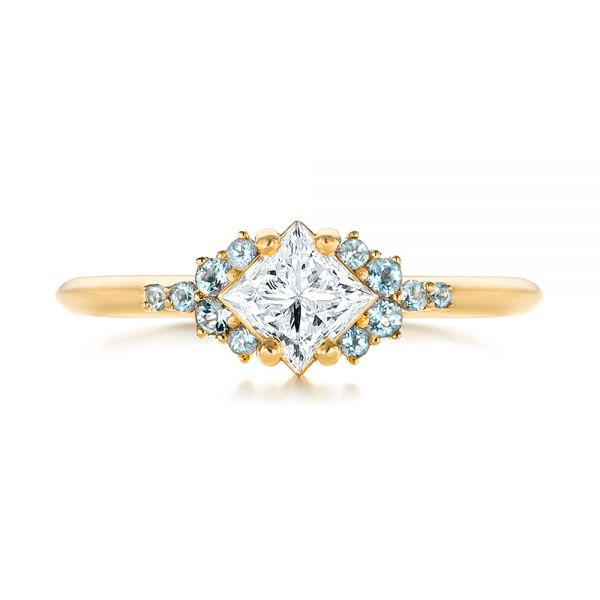 18K Yellow Gold Custom Rose Gold Aquamarine and Diamond Engagement Ring - Top View -  103617 - Thumbnail