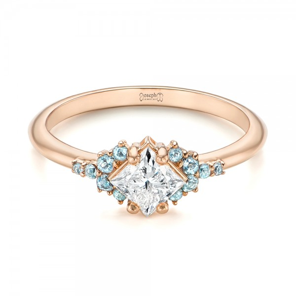 Custom Rose Gold Aquamarine and Diamond Engagement Ring - Laying View
