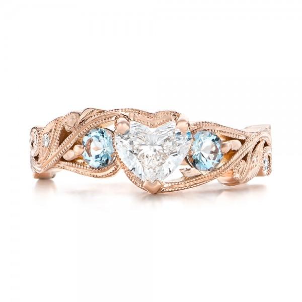 Custom Three Stone Aquamarine and Diamond Engagement Ring - Top View