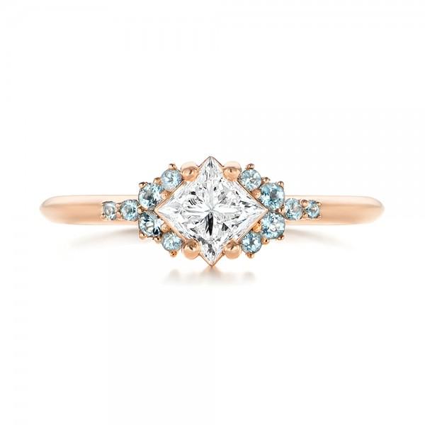 Custom Rose Gold Aquamarine and Diamond Engagement Ring - Top View