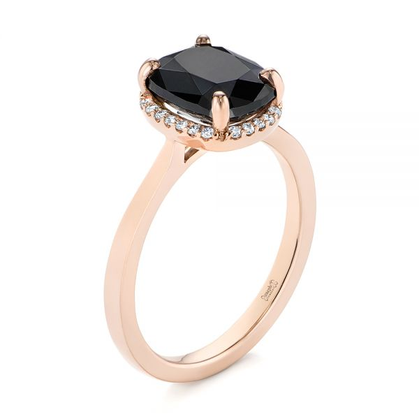 Custom Rose Gold Black Diamond Halo Engagement Ring - Three-Quarter View -  104685 - Thumbnail