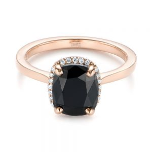 Custom Rose Gold Black Diamond Halo Engagement Ring