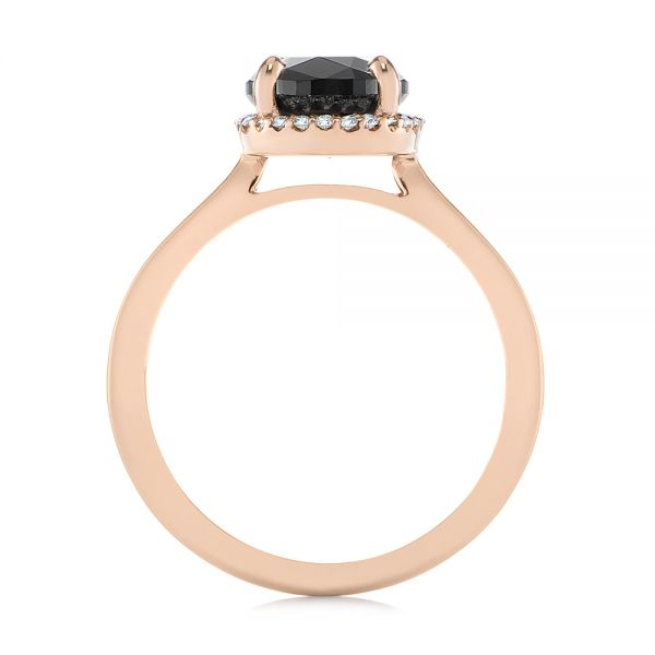 Custom Rose Gold Black Diamond Halo Engagement Ring - Front View -  104685 - Thumbnail