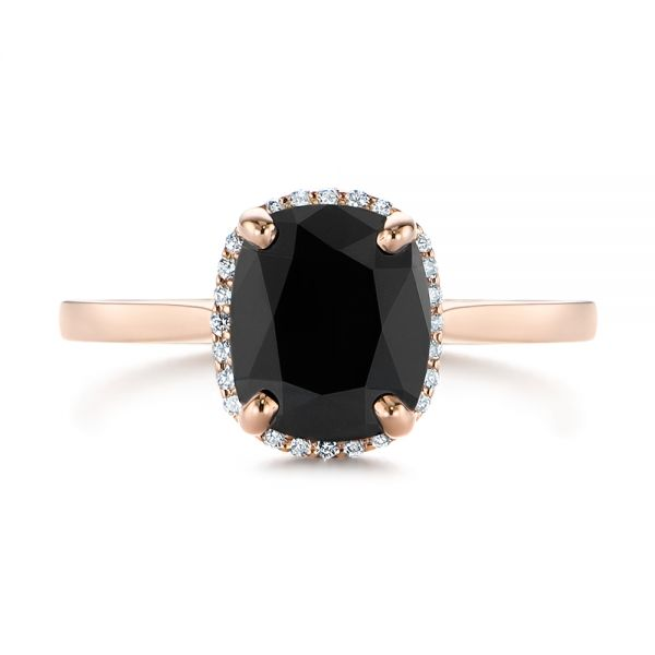 Custom Rose Gold Black Diamond Halo Engagement Ring - Top View -  104685 - Thumbnail