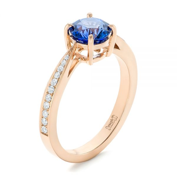 Custom Rose Gold Blue Sapphire and Diamond Engagement Ring - Image