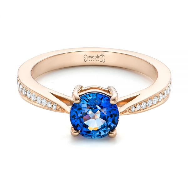 Custom Rose Gold Blue Sapphire and Diamond Engagement Ring - Flat View -  102801 - Thumbnail