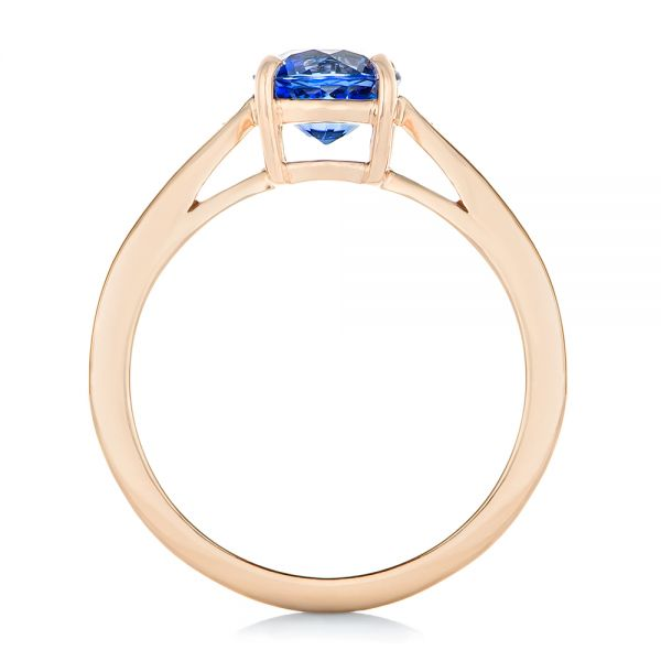 Custom Rose Gold Blue Sapphire and Diamond Engagement Ring - Front View -  102801 - Thumbnail