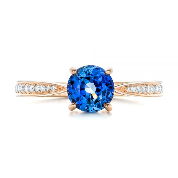 Custom Rose Gold Blue Sapphire and Diamond Engagement Ring - Top View -  102801 - Thumbnail