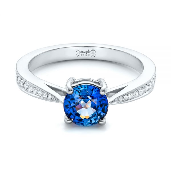 18k White Gold 18k White Gold Custom Blue Sapphire And Diamond Engagement Ring - Flat View -