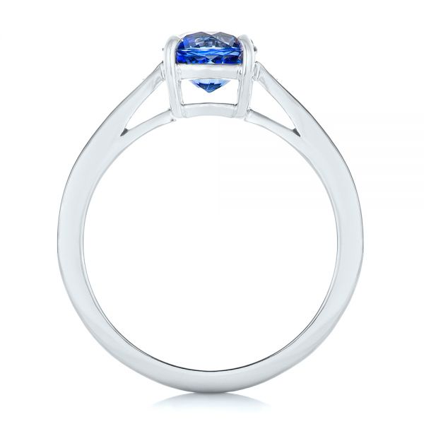 18k White Gold 18k White Gold Custom Blue Sapphire And Diamond Engagement Ring - Front View -