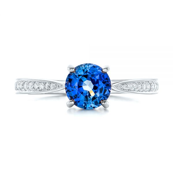 18k White Gold 18k White Gold Custom Blue Sapphire And Diamond Engagement Ring - Top View -