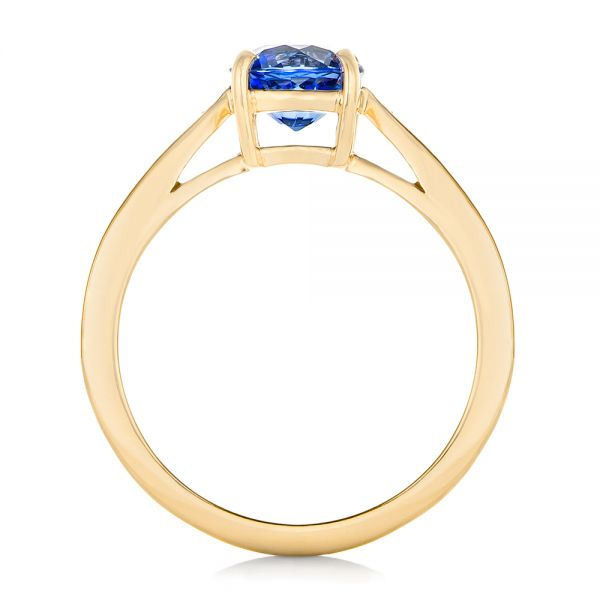 14k Yellow Gold 14k Yellow Gold Custom Blue Sapphire And Diamond Engagement Ring - Front View -