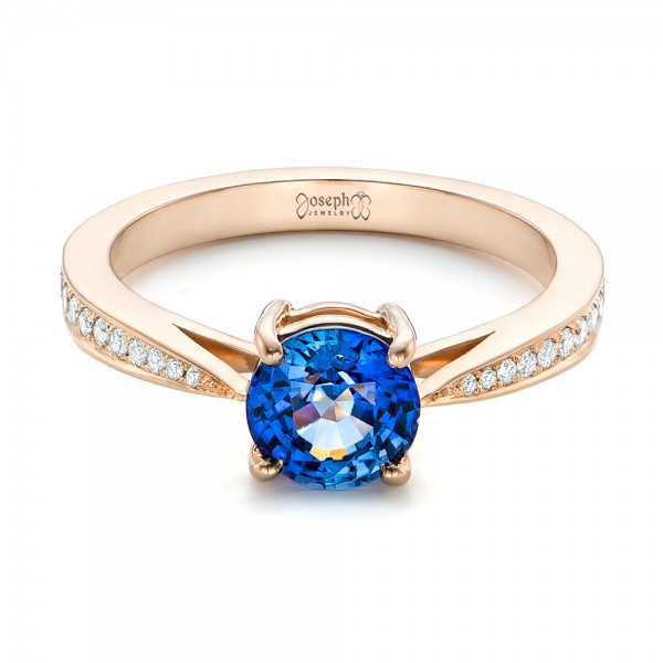 Custom Rose Gold Blue Sapphire and Diamond Engagement Ring