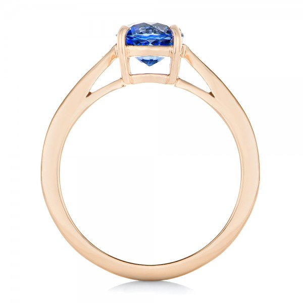 Custom Rose Gold Blue Sapphire and Diamond Engagement Ring - Finger Through View