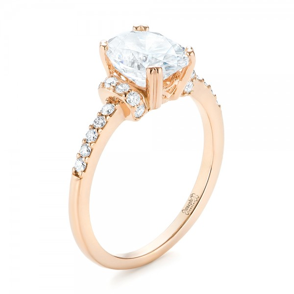 Custom Rose Gold Moissanite and Diamond Engagement Ring