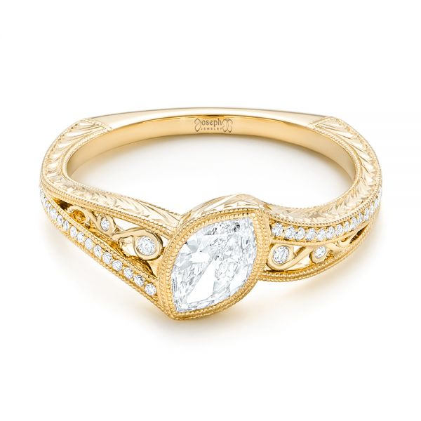 18k Yellow Gold 18k Yellow Gold Custom Diamond Engagement Ring - Flat View -