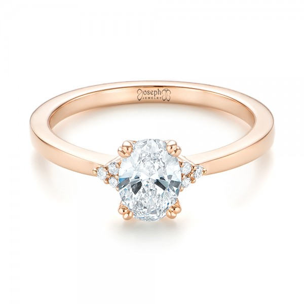 Custom Rose Gold Diamond Engagement Ring - Laying View