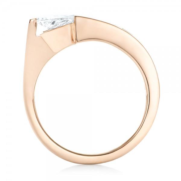 Custom Rose Gold Diamond Engagement Ring - Finger Through View