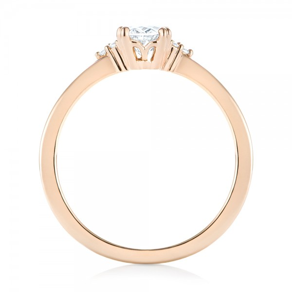 Custom Rose Gold Diamond Engagement Ring - Finger Through View