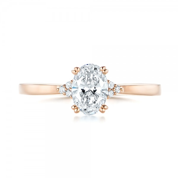 Custom Rose Gold Diamond Engagement Ring - Top View