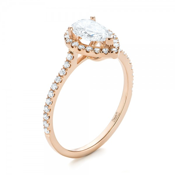 Custom Rose Gold Diamond Halo Engagement Ring - Image