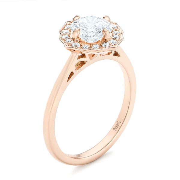 Custom Rose Gold Diamond Halo Engagement Ring