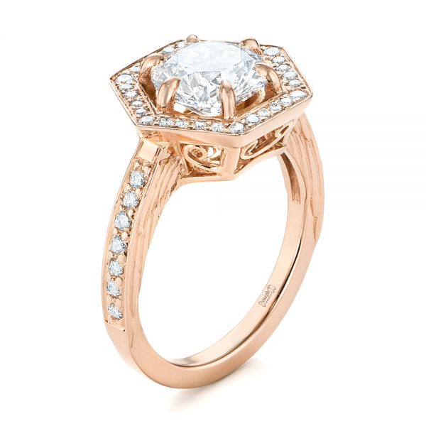 14k Rose Gold Custom Diamond Halo Engagement Ring - Three-Quarter View -