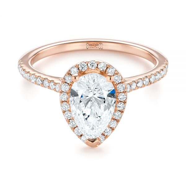 14k Rose Gold Custom Diamond Halo Engagement Ring - Flat View -