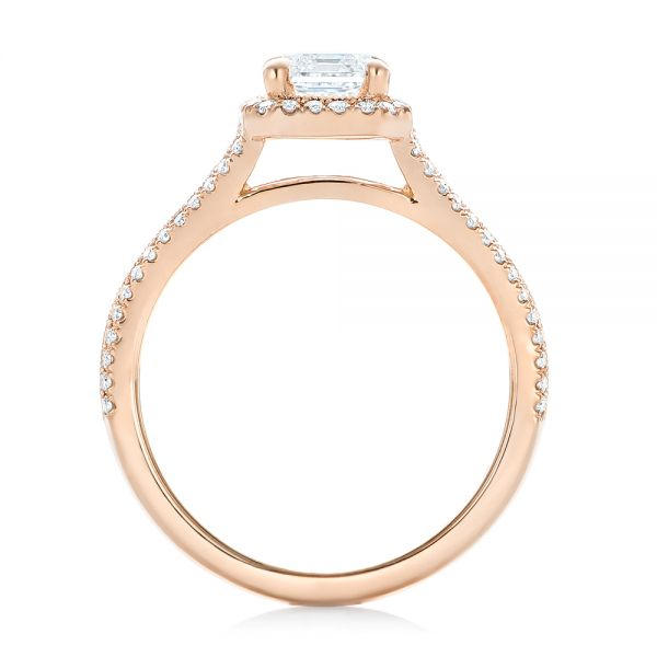 14k Rose Gold Custom Diamond Halo Engagement Ring - Front View -