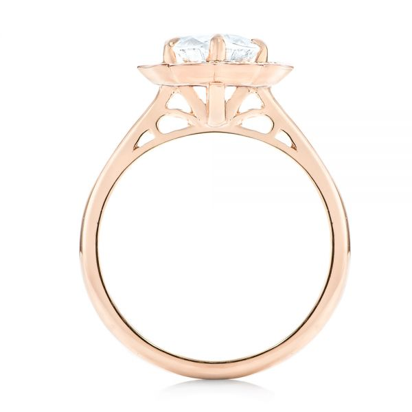 Custom Rose Gold Diamond Halo Engagement Ring - Front View -  102957 - Thumbnail