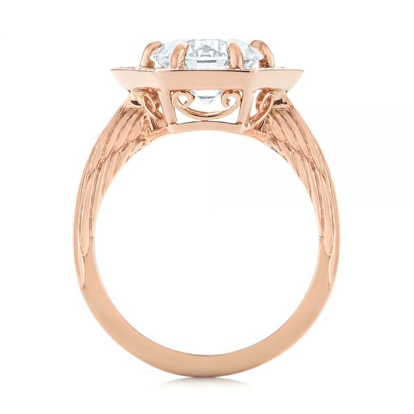 Custom Rose Gold Diamond Halo Engagement Ring - Front View -  103489 - Thumbnail