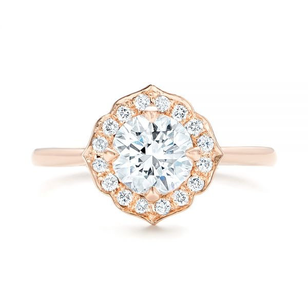 Custom Rose Gold Diamond Halo Engagement Ring - Top View -  102957 - Thumbnail