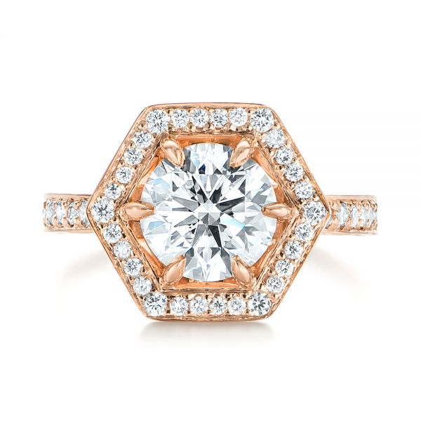 Custom Rose Gold Diamond Halo Engagement Ring - Top View -  103489 - Thumbnail