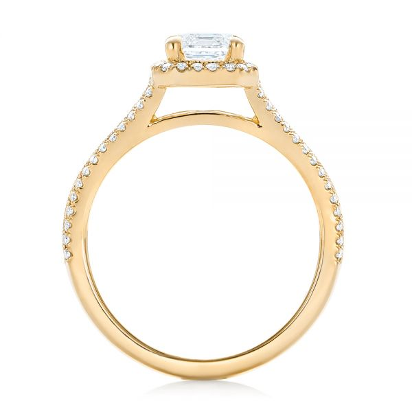 14k Yellow Gold 14k Yellow Gold Custom Diamond Halo Engagement Ring - Front View -