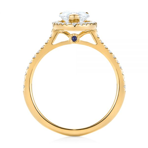 18k Yellow Gold 18k Yellow Gold Custom Diamond Halo Engagement Ring - Front View -  104264