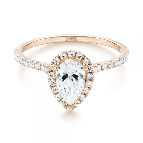 Custom Rose Gold Diamond Halo Engagement Ring - Laying View
