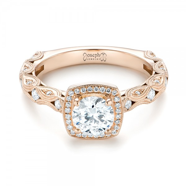 18k Rose Gold 18k Rose Gold Custom Diamond Halo Engagement Ring - Flat View -  103596