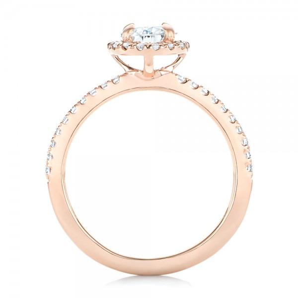 Custom Rose Gold Diamond Halo Engagement Ring - Finger Through View