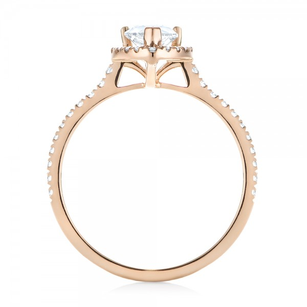 Custom Rose Gold Diamond Halo Engagement Ring - Finger Through View
